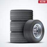 Car tires and wheel at warehouse Royalty Free Stock Photos