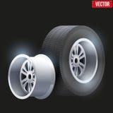 Car tires and wheel at warehouse Stock Photos