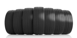 Car tires on white background. 3d illustration Stock Photo