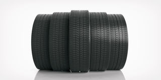 Car tires on white background. 3d illustration Royalty Free Stock Photos