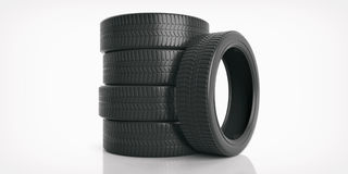 Car tires on white background. 3d illustration. Car tires stack on white background. 3d illustration Stock Photos