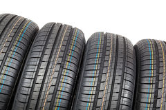 Car tires on white background. Royalty Free Stock Image