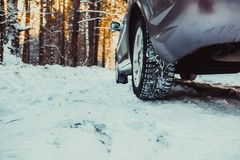 The car in the forest in winter Royalty Free Stock Photography
