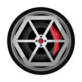 Car titanium rim vector icon. Car titanium rim icon. Consumables for car, auto service concept, wheel vehicle isolated on white background vector illustration Stock Photos