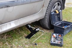 Car tool kit. Suitcase with a tool for cars opened outdoor Royalty Free Stock Image
