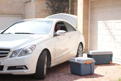 Car and toolbox. Benz E-Class nad toolbox Stock Images