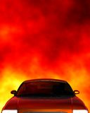 Car top. A 3d rendered car top on fire background. Included several clipping path: whole car, car paint and for transparent parts. With these clipping paths you stock illustration