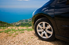 Car on the top of the moutain Royalty Free Stock Photo