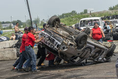 Demolition derby. Napierville demolition derby, July 12, 2015, picture of wrecked car on the top during demolition derby royalty free stock photography