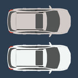 Car top view. Realistic and flat color style design vector. Stock Photo