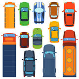 Car top view vector set.