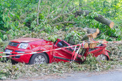 Car totaled, storm. Essen Kettwig, Nrw, Germany - June 15, 2014:  Essen, according to it was the strongest storm in NRW since Kyrill in 2007 Royalty Free Stock Photography