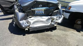 Car totaled in wreck. Worst accident ever changed my life Stock Images