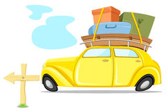 Car on Tour. Illustration of car loaded with luggage going for trip Royalty Free Stock Images