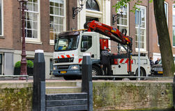 Car Tower - hoist works on the street in Amsterdam Stock Images