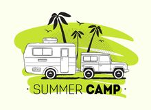 Car towing caravan trailer or travel camper against palm trees on background and Summer Trip lettering. Recreational. Vehicle for road journey or seasonal Stock Images
