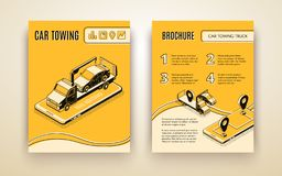 Car towing road service isometric vector brochure stock illustration