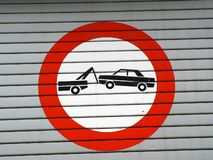 Car towing sign stock photography