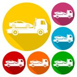 Car towing truck icons set with long shadow. Vector icon vector illustration