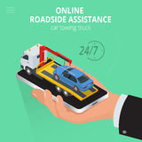 Car towing truck Online, evacuator Online, Online roadside assistance car towing truck, Business and Service Concept. Flat 3d vector isometric illustration Stock Photo