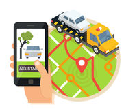 Car towing truck, online roadside assistance. Evacuator in mobile app. Flat design illustration. Car towing truck, online roadside assistance. Car evacuator in Royalty Free Stock Photos