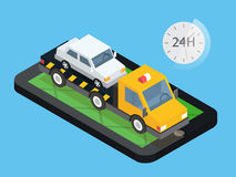 Car towing truck, online roadside assistance. Evacuator in mobile app. Flat design illustration. Royalty Free Stock Photos