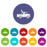 Car towing truck set icons Royalty Free Stock Photos