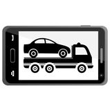 Car towing truck on Smartphone - illustration Royalty Free Stock Images