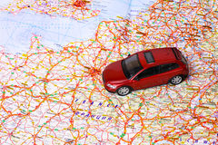Car toy on map Royalty Free Stock Photo