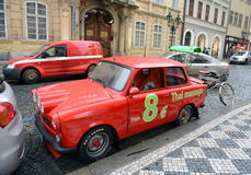 Car Trabant 601 on the streets of Prague. Royalty Free Stock Photos