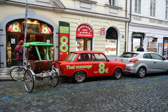 Car Trabant 601 on the streets of Prague. Stock Photo
