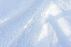 Car trace in snow Stock Photography