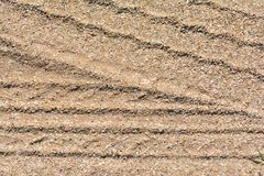 Car traces on sand Royalty Free Stock Images
