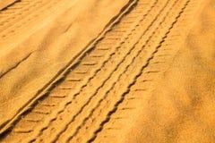 Car track in the desert Stock Photo