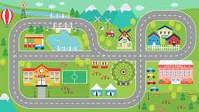 Car track play placemat HD. Lovely city landscape car track HD play mat for children activity and entertainment. Sunny city landscape with mountains, farm Royalty Free Stock Photography
