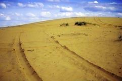 Car tracks in the desert sand Royalty Free Stock Photo