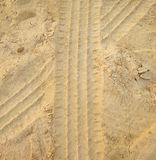 Car Tracks In Sand Layer