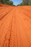 Car tracks in red dirt. Red Australian rural road with car tracks in dirt Royalty Free Stock Photography