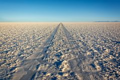 Car tracks in Salar de Uyuni Uyuni salt flats, Potosi, Bolivia. South America stock images