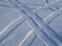 Car tracks on the snow Royalty Free Stock Photography