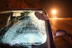 Car traffic accident. Car with broken windshield after crash with pedestrian royalty free stock images