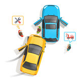 Car traffic accident top view Royalty Free Stock Photos