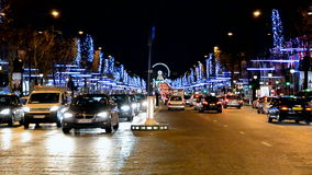 Car traffic on Avenue des Champs-Elysees in Paris, stock video footage