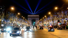 Car traffic on Avenue des Champs-Elysees in Paris, stock footage