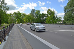 Car traffic on the bridge through Stock Image