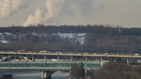 Car traffic on the bridge in the Luzhniki Stadium. In Moscow in winter stock footage