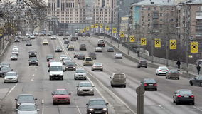 Car traffic on the bridge in Moscow stock video