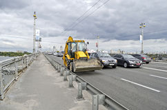 Car traffic on the bridge Paton in Kiev Stock Images