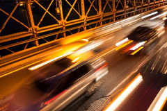 Car traffic on Brooklyn Bridge in New York - USA Royalty Free Stock Photography