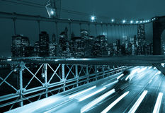 Car traffic on Brooklyn Bridge in New York - USA Royalty Free Stock Photo